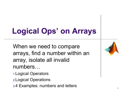 Logical Operations on Arrays
