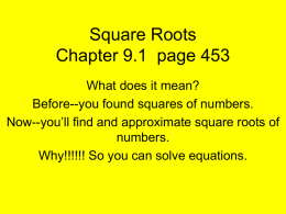 Square Roots - School helper