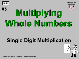 5. Place Value Multiplication - Single Digits