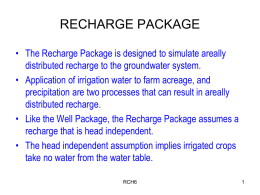 recharge package - Numerical Modelling of Ground