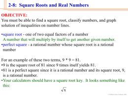 2-8: Square Roots and Real Numbers