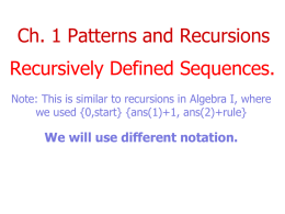 1.1 Recursively defined sequences PP