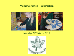 Stages in subtraction - Darrick Wood Infant and Nursery School