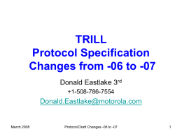 TRILL Base Protocol -05 to -06 Changes
