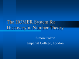 The HOMER System for Discovery in Number Theory