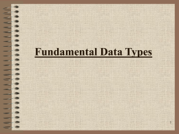 Fundamental Data Types