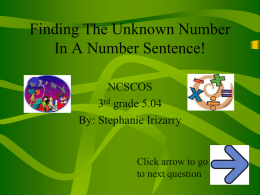 math 5.04 find unknown # in a # sent