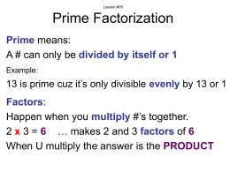 Lesson #05 Prime Factorization