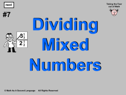 5. Dividing Mixed Numbers
