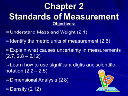 Chapter 2 Standards of Measurement