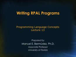 Lecture - 13: Writing RPAL Programs