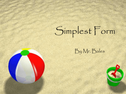 Simplest Form - Teacher Pages