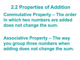 AI 2.2 Properties of Addition