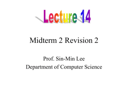 Lecture 12 Revision Midterm 2 - Department of Computer Science