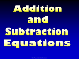 Add and Subtract Equations