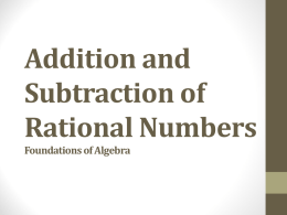 Addition and Subtraction of Rational Numbers