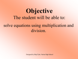 Solve Equations with Multiplication and Division