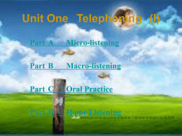 Unit One Telephoning (I)