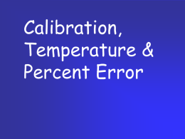 Calibration, Temperature Scales, Percent Error
