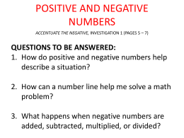 positive and negative numbers