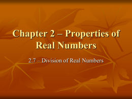 2.7 – Division of Real Numbers