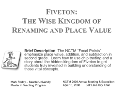 Fiveton: The Wise Kingdom of Renaming and Place Value