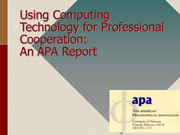 Using Computing Technology for Professional Cooperation: An APA