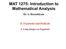 MAT 1275: Introduction to Mathematical Analysis Dr