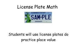 License Plate Math - Middletown Public Schools