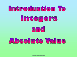 a) Integers & Absolute Value Introduction