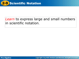 Lesson 9 – Scientific Notation