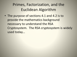 Primes, Factorization, and the Euclidean Algorithm