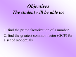 Prime Factorization GCF notes