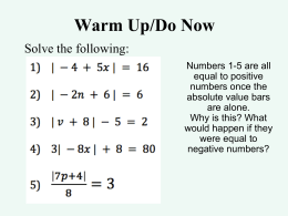 NOTES Absolute Value Functions
