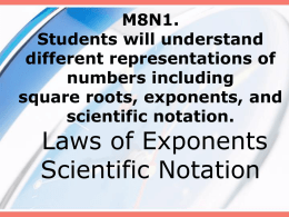6.2 Law of Exponents / Scientific Notation