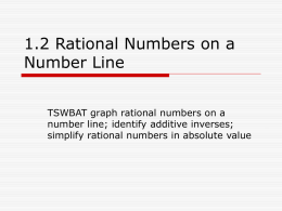 1.2 Rational Numbers on a Number Line