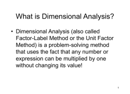 What is Dimensional Analysis?