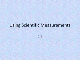 Using Scientific Measurements - Belle Vernon Area School District