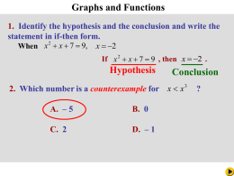 Ch 1-8 Graphs and Functions