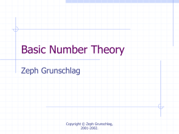 Lecture 9: Basic Number Theory