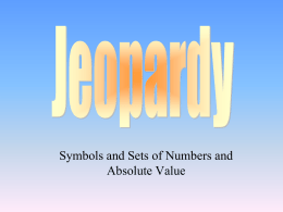 jeopardy for symbols and sets of numbers