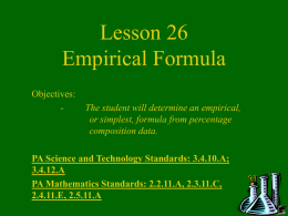 Chemistry Lesson 26 Empirical Formula