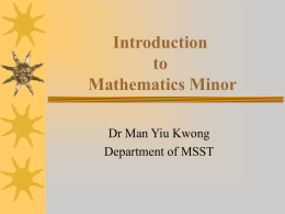 Introduction of Mathematics Minor