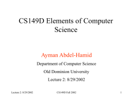 Lecture 2 - ODU Computer Science