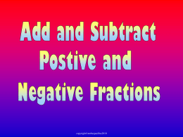 n) Add & Subtract Negative Fractions Unlike Denomin