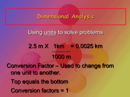 Dimensional Analysis - Day 1 Introduction to Chemistry and