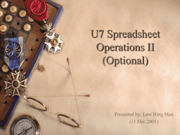 U7 Spreadsheet Operations II