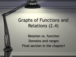Alg II (2.4) Functions and Relations 9