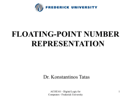 Lecture 2: Floating-point number representation