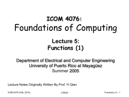 Lecture 5 - Electrical and Computer Engineering Department